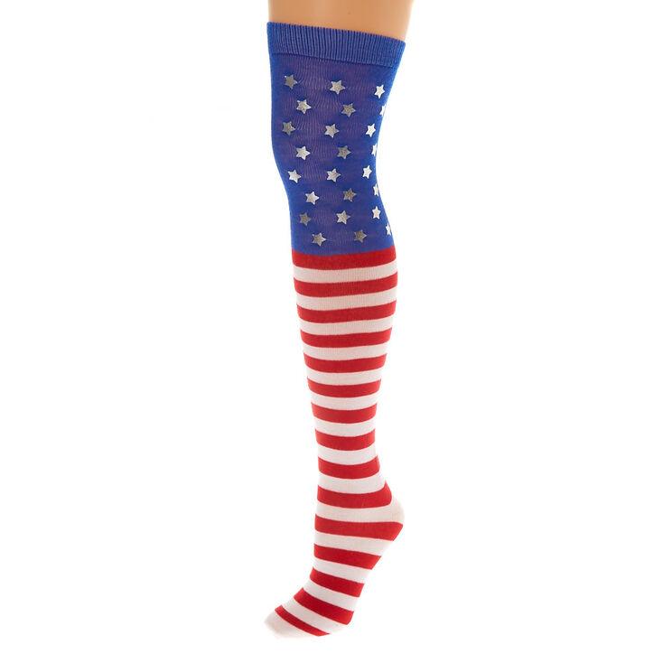 American Flag Over the Knee Socks,