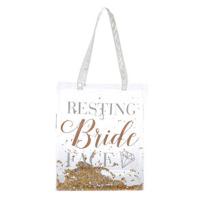 Shaker Sequin Resting Bride Face Tote Bag - Clear,