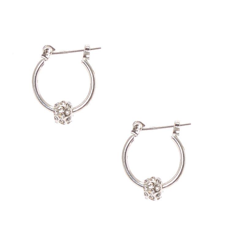 Silver Tone Fireball Mini Hoop Earrings,