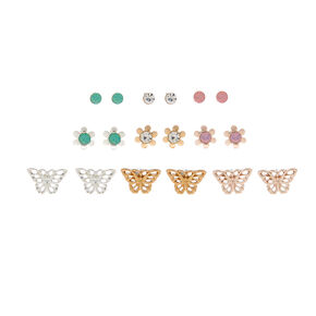 Mixed Metal Floral Butterfly Stud Earrings - 9 Pack,