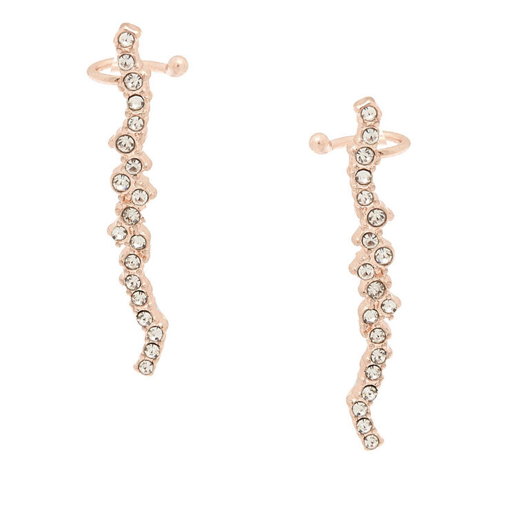 "Rose Gold 1.5"" Crystal Ear Crawler Earrings,"