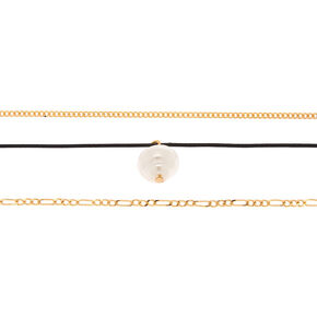Gold Pearl Choker Necklaces - 3 Pack,
