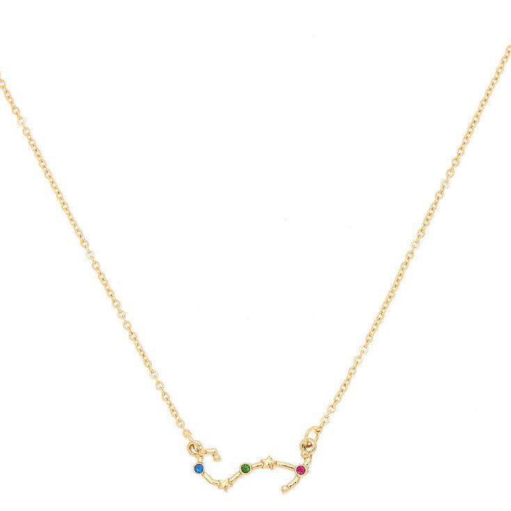 Gold Zodiac Constellation Pendant Necklace - Scorpio,