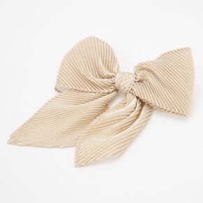 Pleated Sequin Hair Bow Clip - Gold,