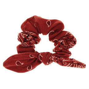 Small Bandana Knotted Bow Hair Scrunchie - Rust,