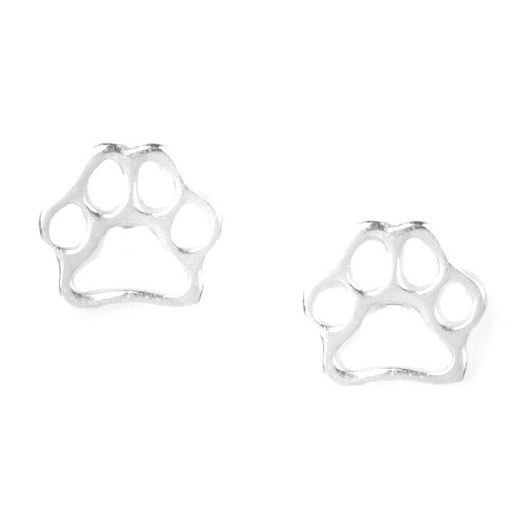 Sterling Silver Dog Paws Stud Earrings,