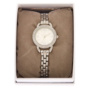 Silver Embellished Link Watch,