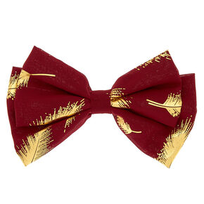 Metallic Leaf Hair Bow Clip - Burgundy,