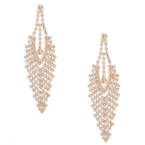"Gold Rhinestone 3"" Chevron Chandelier Drop Earrings,"