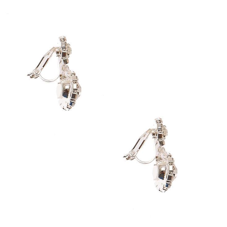 "Silver 1"" Embellished Halo Clip On Drop Earrings,"