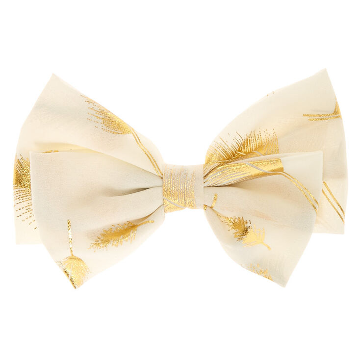 Gold Leaf Blush Bow Hair Clip,