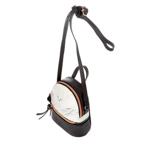 Marble Mini Backpack Crossbody Bag - Black,