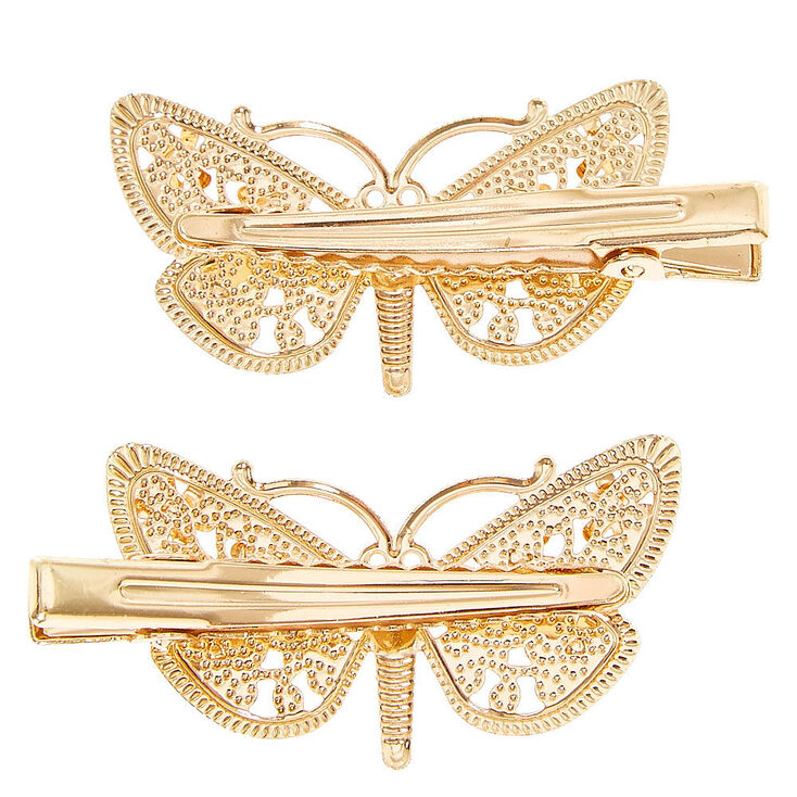 Gold Filigree Butterfly Hair Clips - 2 Pack,