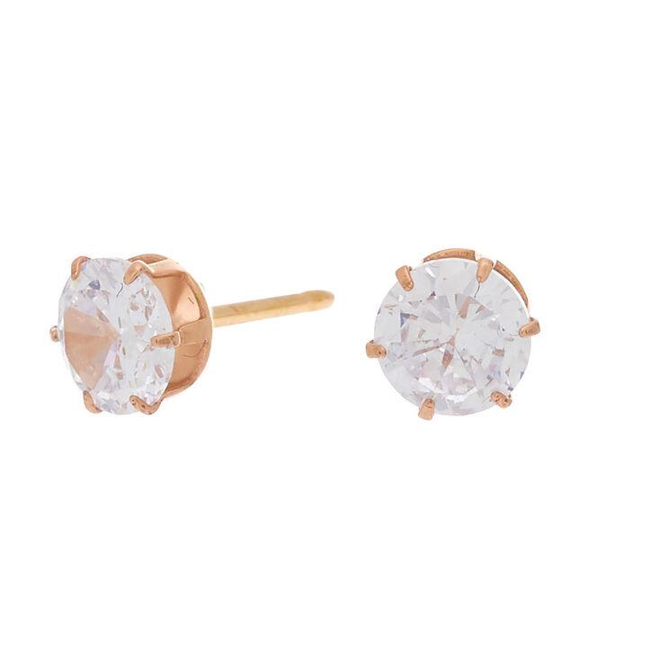 Rose Gold Titanium Cubic Zirconia 6MM Round Stud Earrings,
