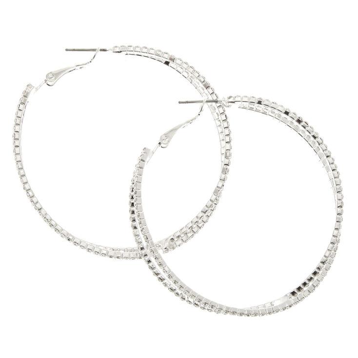 Criss Cross Stone Hoop Earrings,