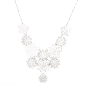 Silver Filigree Flower Statement Necklace,