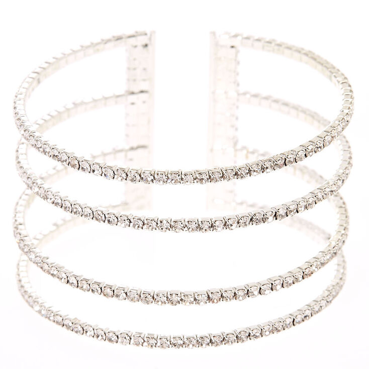 Silver Rhinestone Skyscraper Cuff Bracelet,