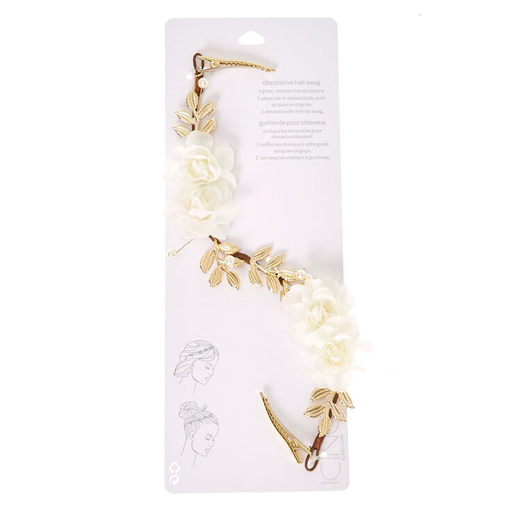 White Floral Gold-Tone Clip On Flower Crown,