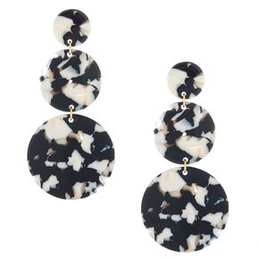 "Gold 3"" Round Tortoiseshell Drop Earrings - Black,"