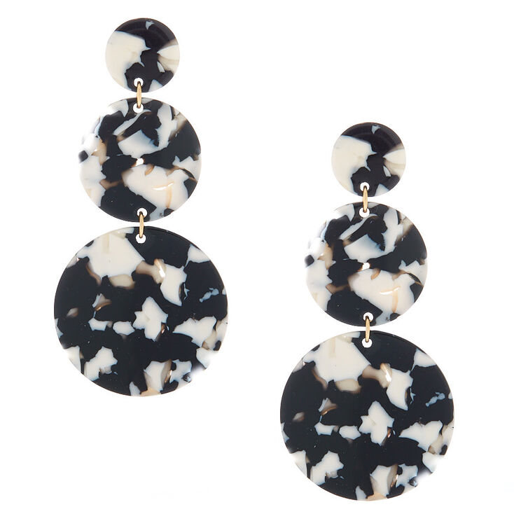 "Gold 3"" Round Tortoiseshell Drop Earrings - Black,"
