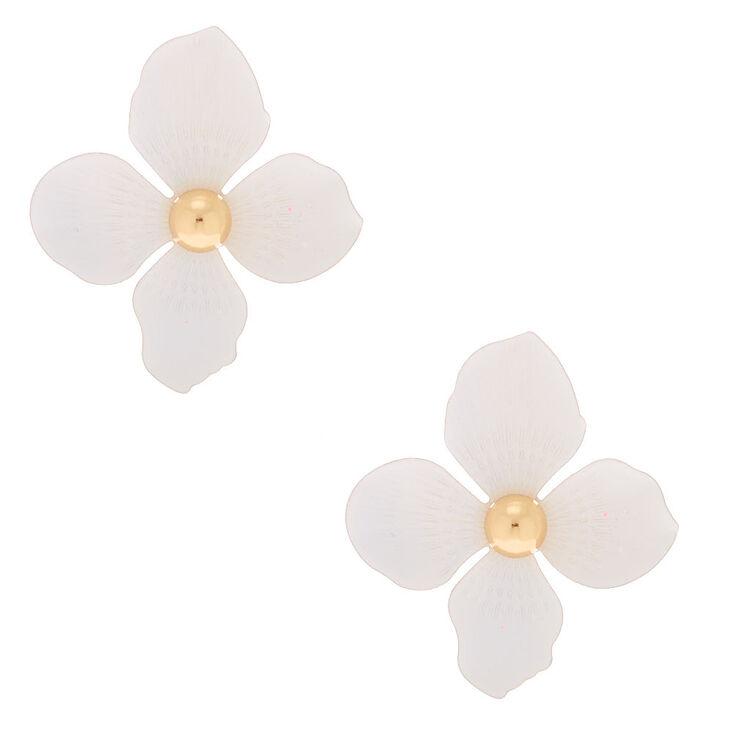 """Gold 2"""" Flower Drop Earrings - White,"""