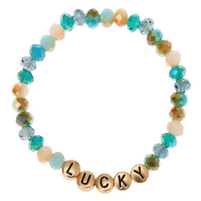 Lucky Beaded Stretch Bracelet - Teal,