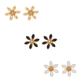 Gold Flower Stud Earrings - 3 Pack,