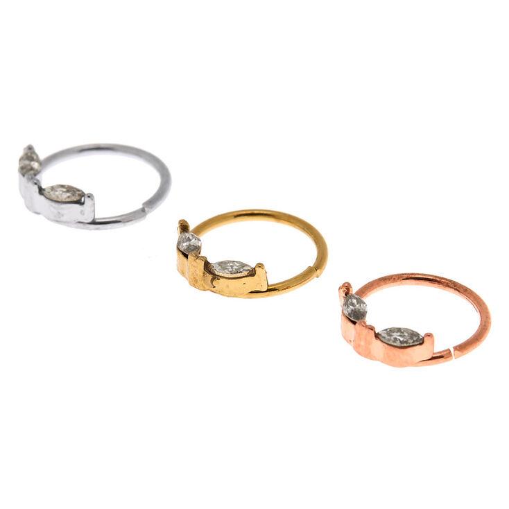 Mixed Metal 20G Oval Crystal Hoop Nose Rings - 3 Pack,