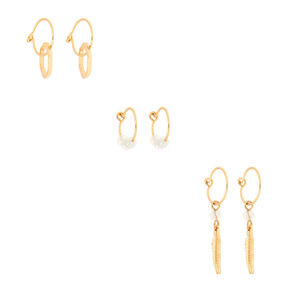 Gold Bead Mixed Earrings - Opal, 6 Pack,