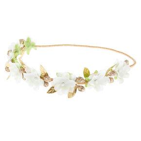 Gold Glitter Flower Crown Headwrap - Ivory,
