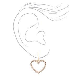 "Gold 1.5"" Embellished Crystal Heart Drop Earrings,"