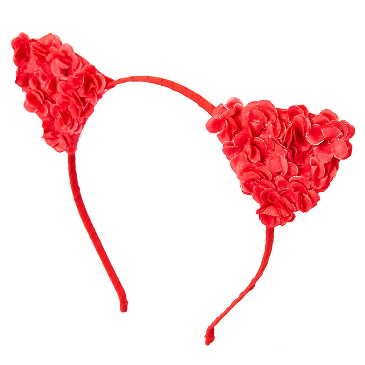 Red Flower Cat Ears Headband,