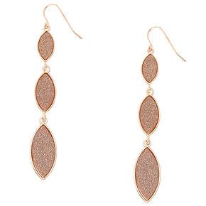 Rose Gold Glitter Tiered Drop Earrings,