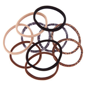 Animal Print Rolled Hair Ties - Brown, 10 Pack,