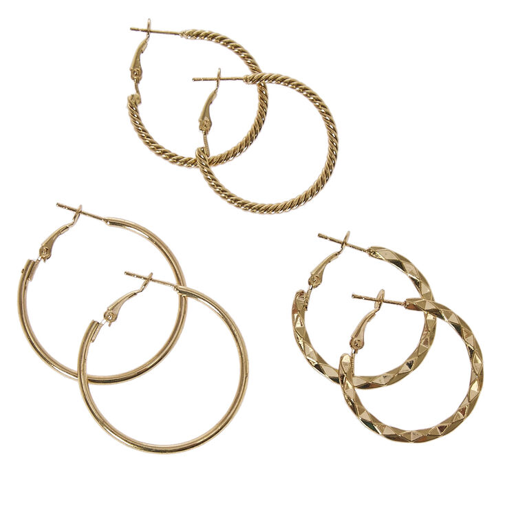 Gold Tone Graduated Textured Hoop Earrings,