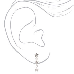 "Sterling Silver 1"" Embellished Star Linear Drop Earrings,"