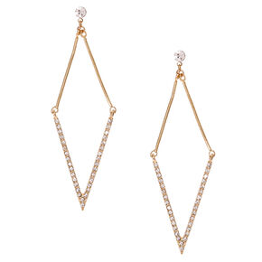 Gold Tone Rhinestone Arrow Drop Earrings,