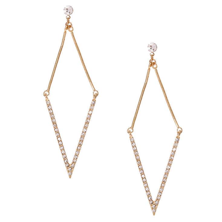 Gold Tone Rhinestone Arrow Drop Earrings,