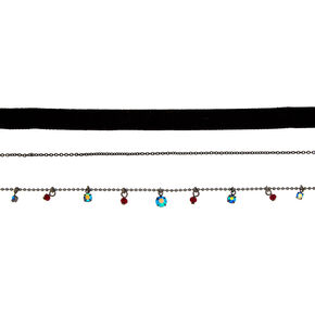 Hematite & Velvet Choker Necklaces - 3 Pack,