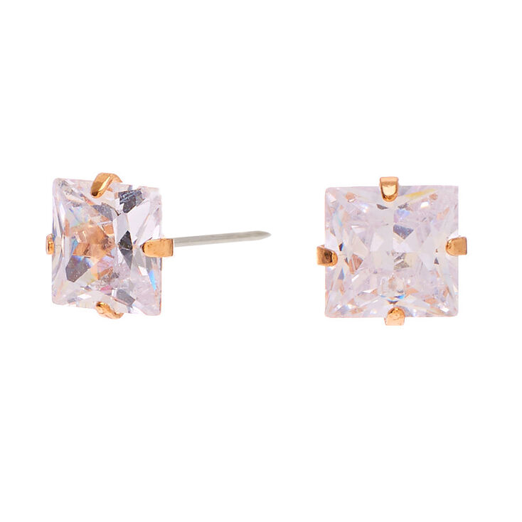 Gold Cubic Zirconia Square Stud Earrings - 7MM,