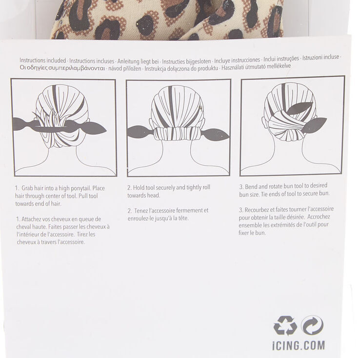 Leopard Bow Bun Roller Hair Tool Kit,