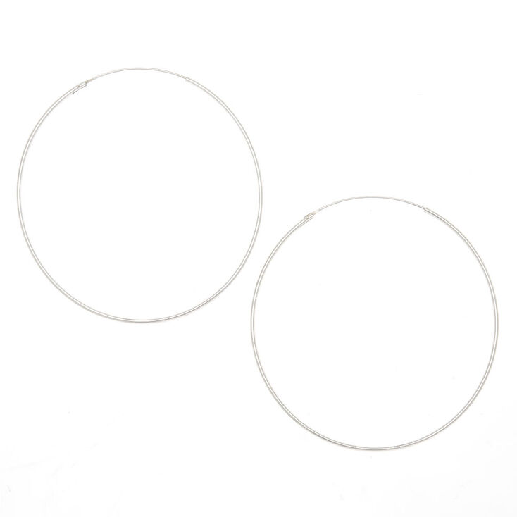 Sterling Silver 60M Infinity Hoop Earrings,