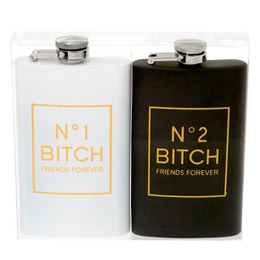 No. 1 & No. 2 Bitch Friends Forever Flask Set - 2 Pack,