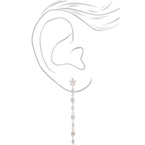 "Silver Cubic Zirconia 2.5"" Linear Drop Earrings,"