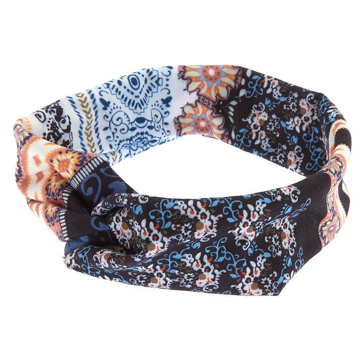 Boho Floral Twisted Headwrap - Black,