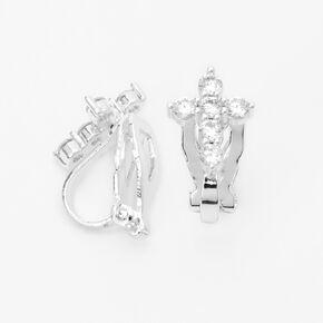 Silver Cubic Zirconia Cross Clip On Stud Earrings,