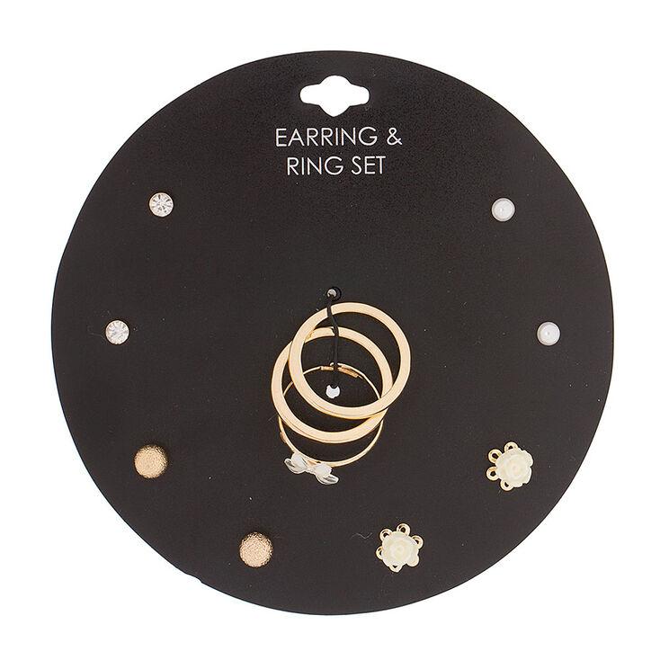 Gold Roses Earrings & Rings Jewelry Set,
