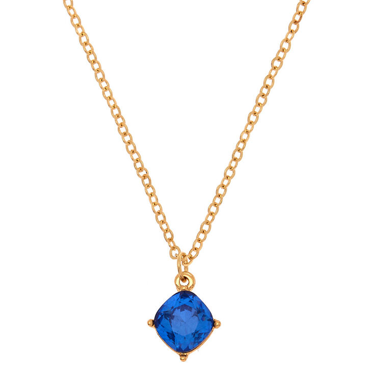 September Birth Stone Pendant Necklace - Sapphire,