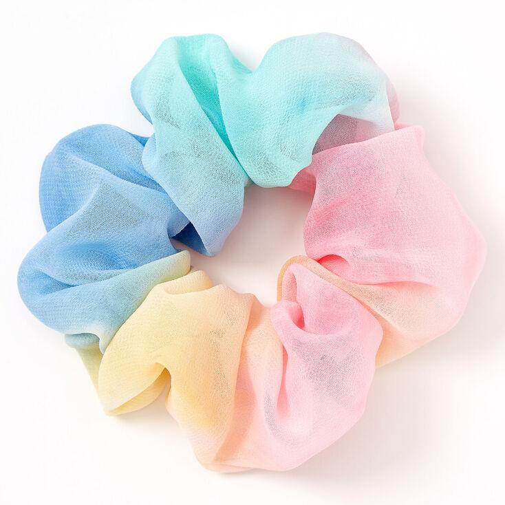 Medium Rainbow Tie Dye Chiffon Hair Scrunchie,