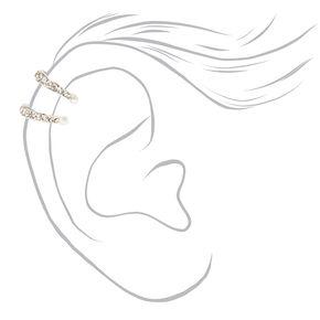 Silver Double Row Crystal Ear Cuff,